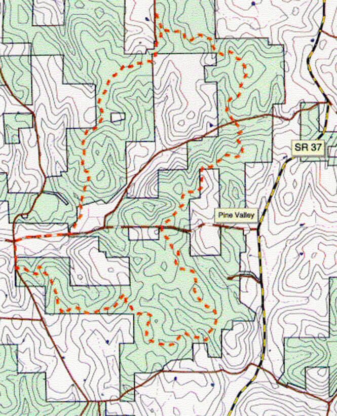 Youngs Creek Trail Horseback Riding Map