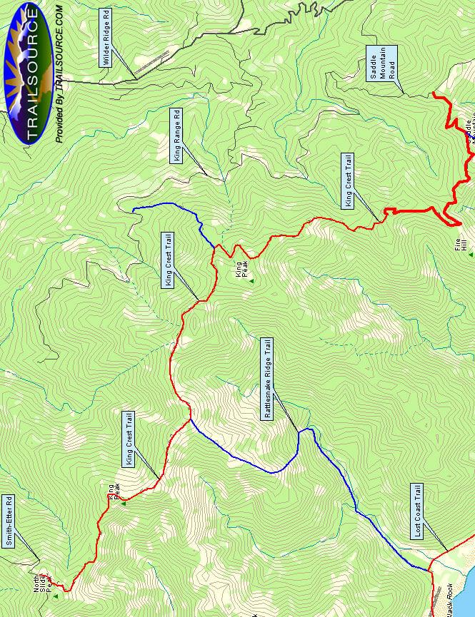 King Crest Trail Mountain Biking Map