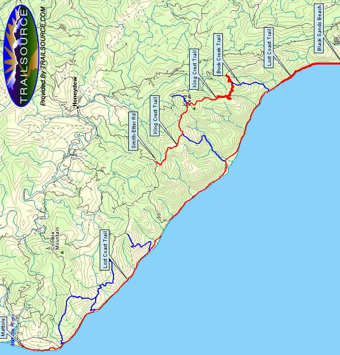 Lost Coast Trail Hiking Map