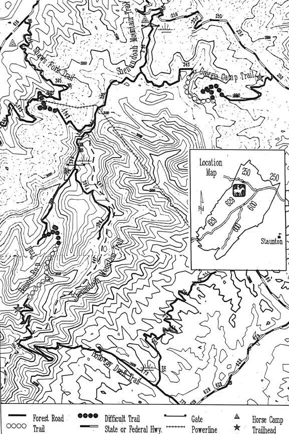 Shenandoah Mountain Horse Trail System Horseback Riding Map
