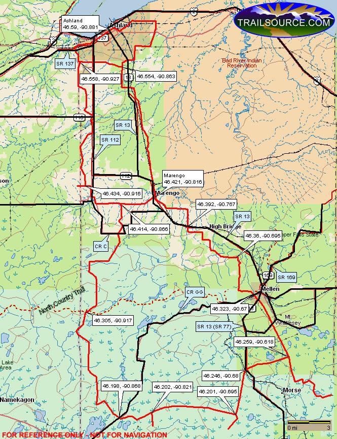 Ashland County Snowmobiling Map