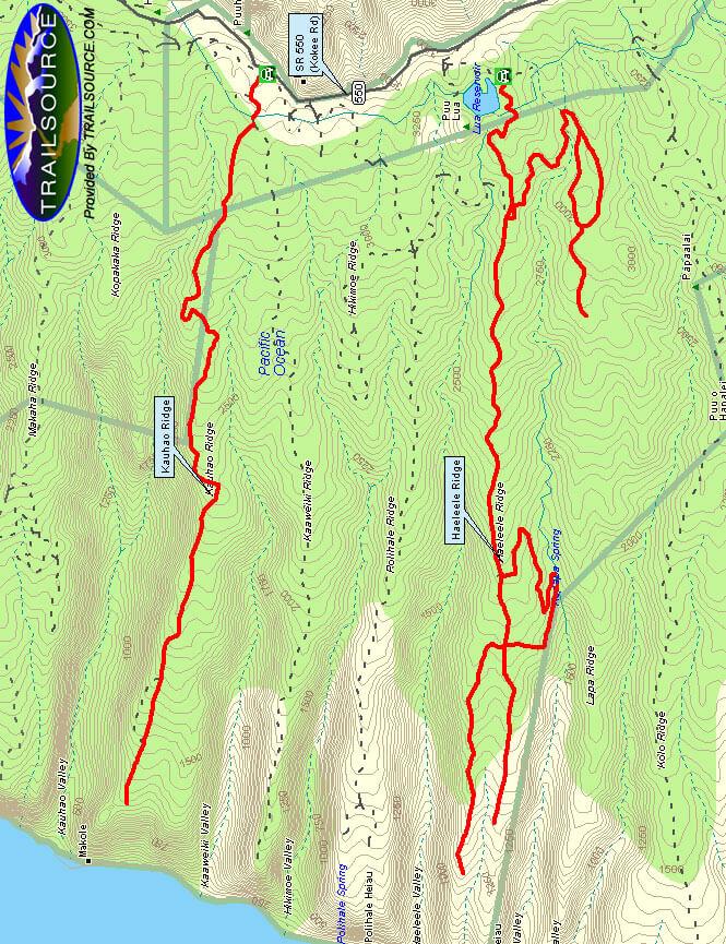Haeleele Ridge Road Trail Horseback Riding Map