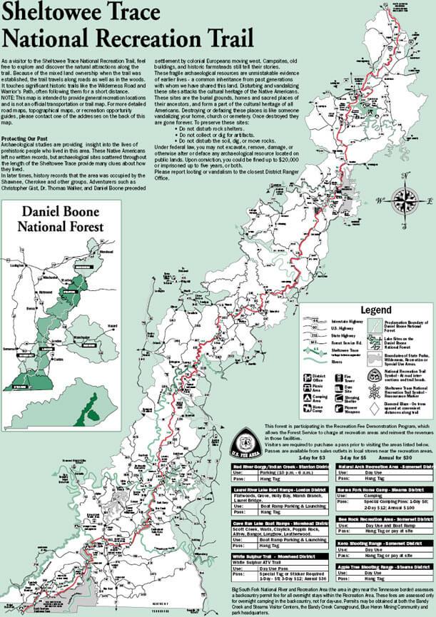 Sheltowee Trace National Recreation Trail Horseback Riding Map