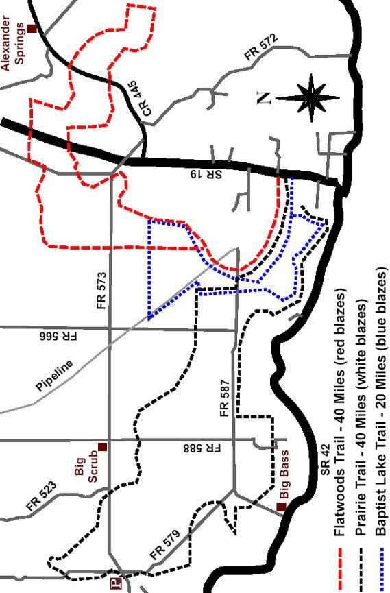 Baptist Lake Trail Horseback Riding Map
