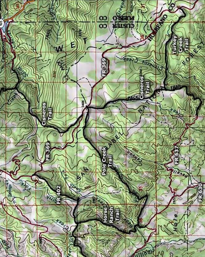 Cisneros Trail Horseback Riding Map