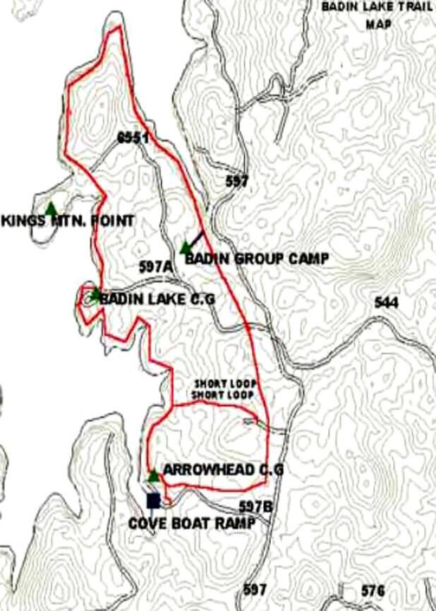 Badin Lake Hiking Trail Hiking Map