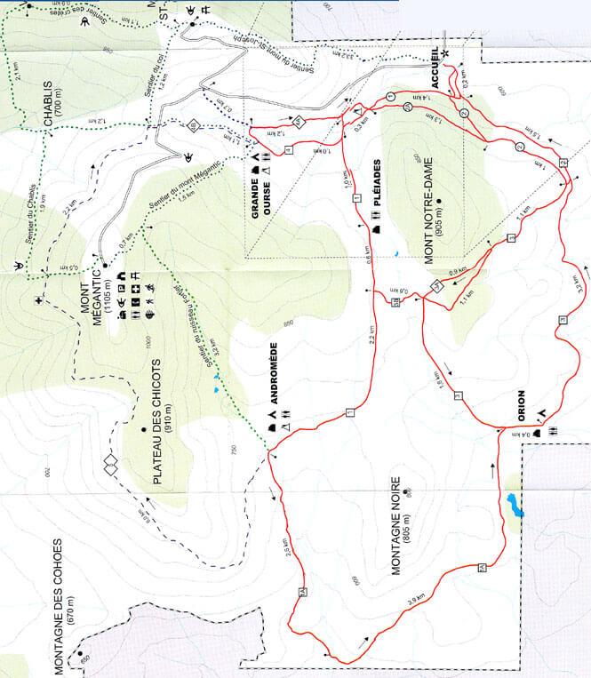 Mont Megantic Park Hiking Map