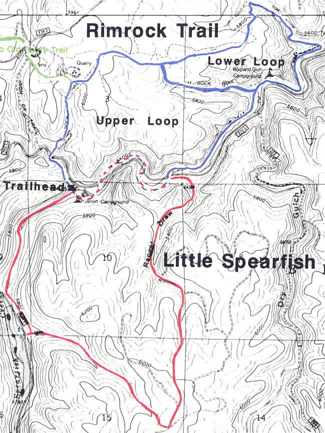 Little Spearfish / Rimrock Trails Hiking Map