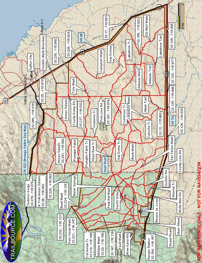 Ocotillo Wells State Recreation Area ATV Trails Map