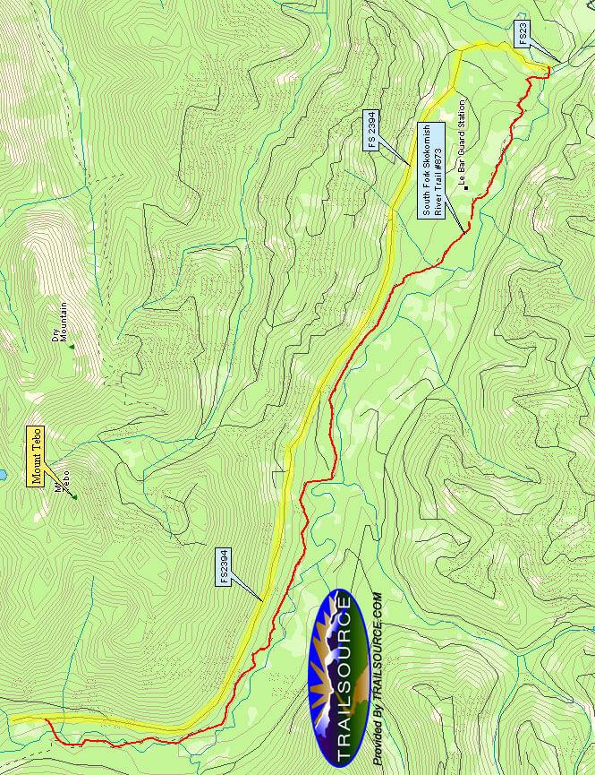 Lower South Fork Skokomish Trail Horseback Riding Map