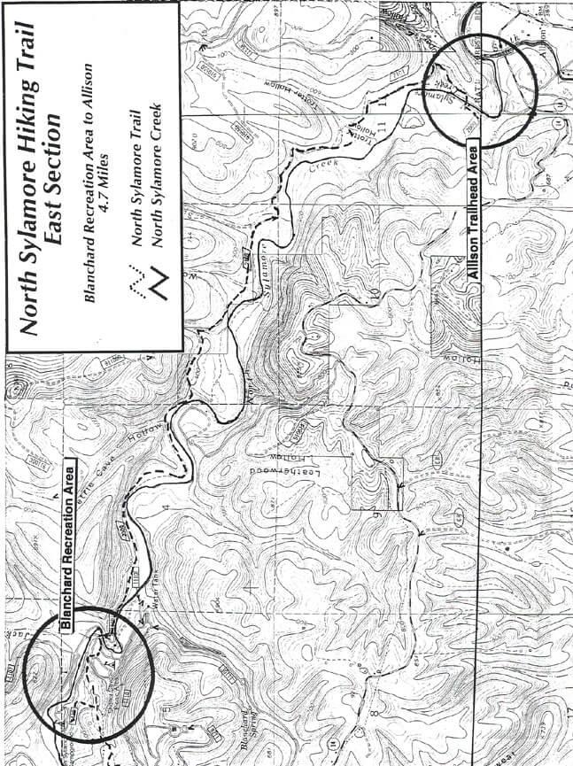 Sylamore Creek Trail - East Hiking Map