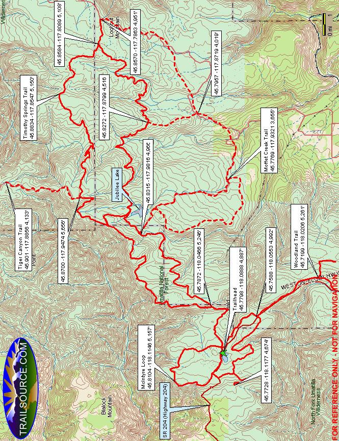 Jubilee Lake Trail Snowmobiling Map