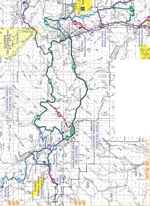 Northern Bighorns Snowmobiling Map