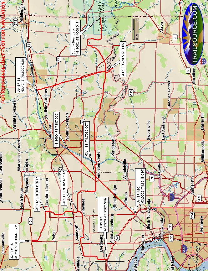 Niagara County Snowmobiling Map