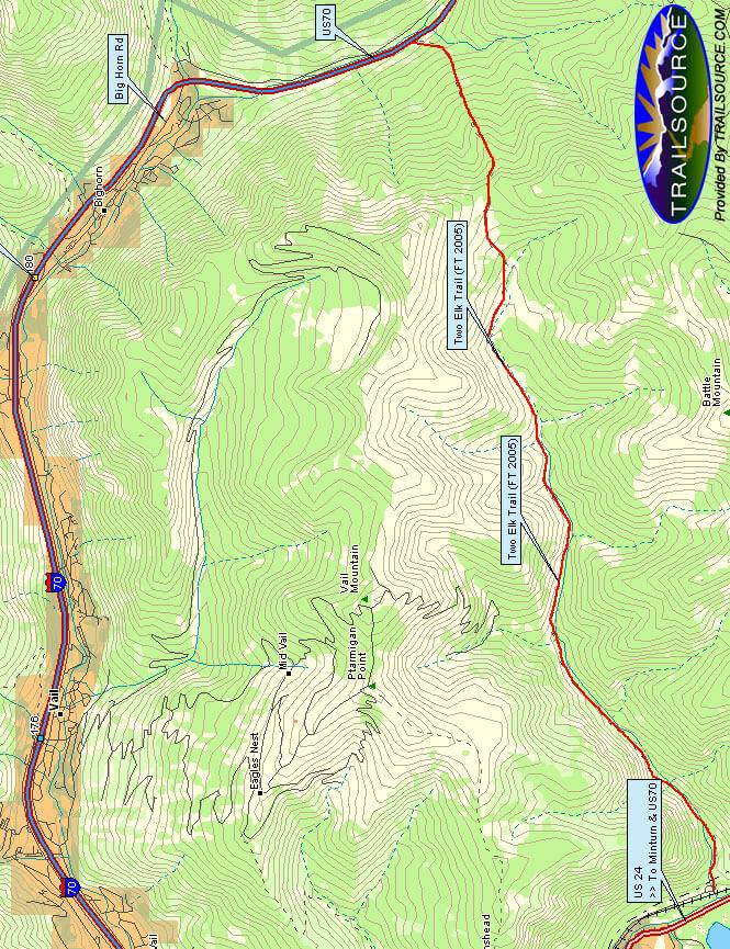 Two Elk Trail Horseback Riding Map