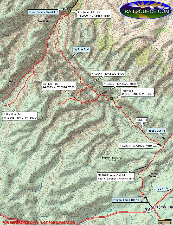 Dry Fork Ridge Hiking Map