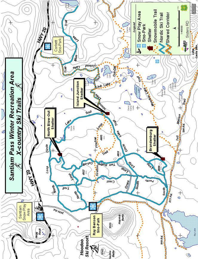 Santiam Pass Cross Country Skiing Map