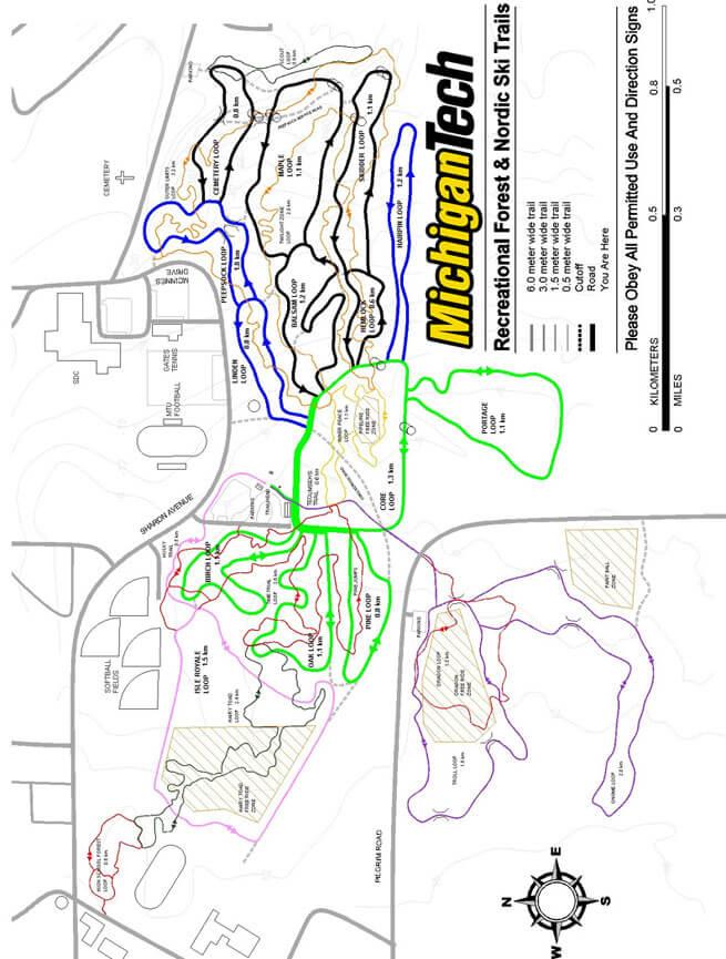 Michigan Tech Cross Country Skiing Map