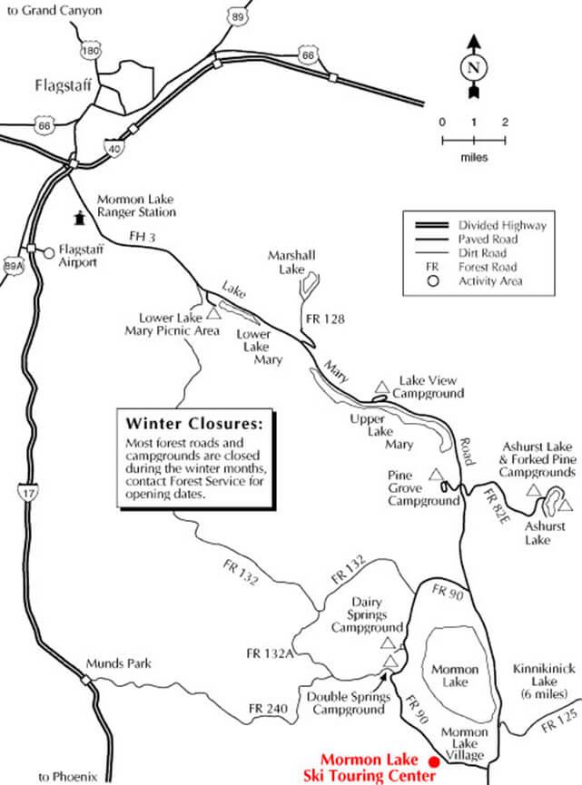 Mormon Lake Ski Touring Center Cross Country Skiing Map