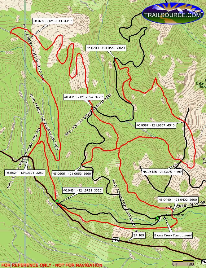 Evans Creek ATV Trails Map