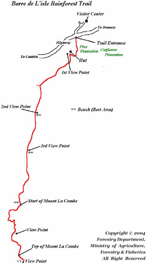 Barre de LIsle Rainforest Trail Hiking Map