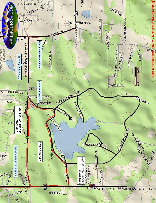 Craighead Forest ATV Park ATV Trails Map