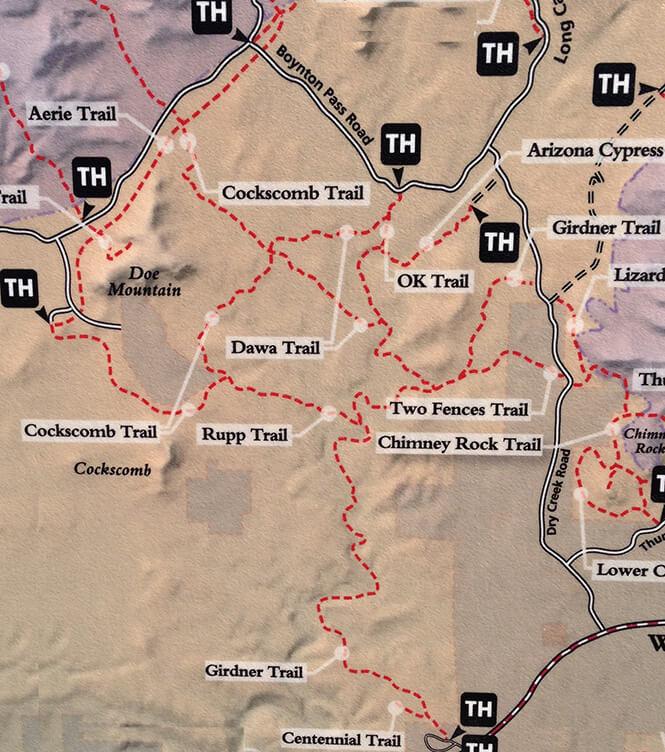 Dawa / Doe Mountain Loops Mountain Biking Map