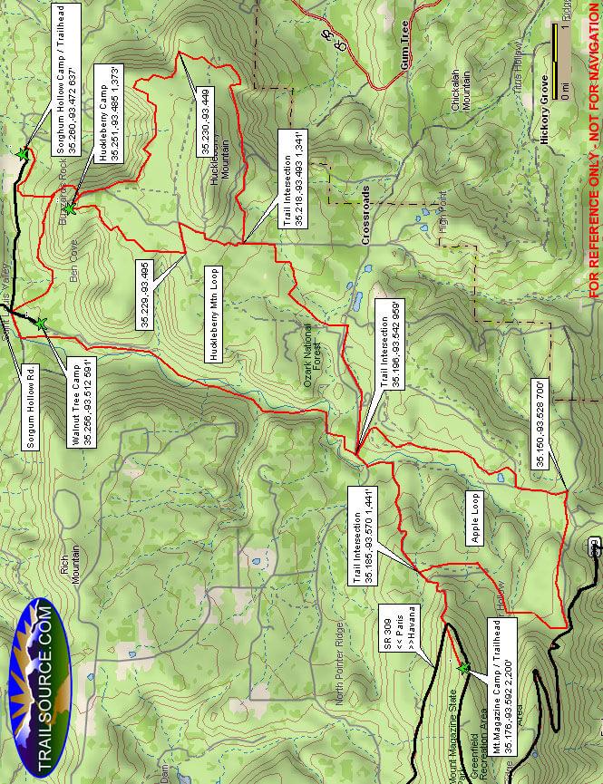 Huckleberry Mountain Hiking Map