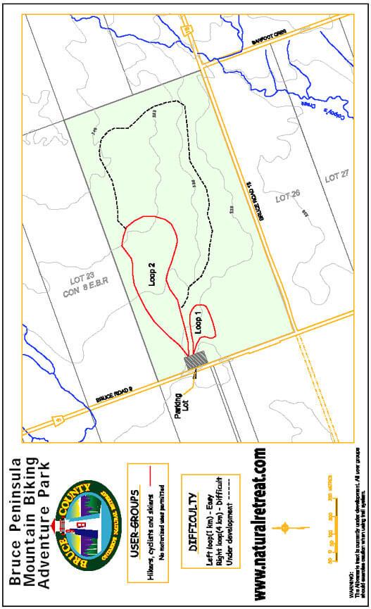 Bruce Peninsula Mountain Biking Park Mountain Biking Map