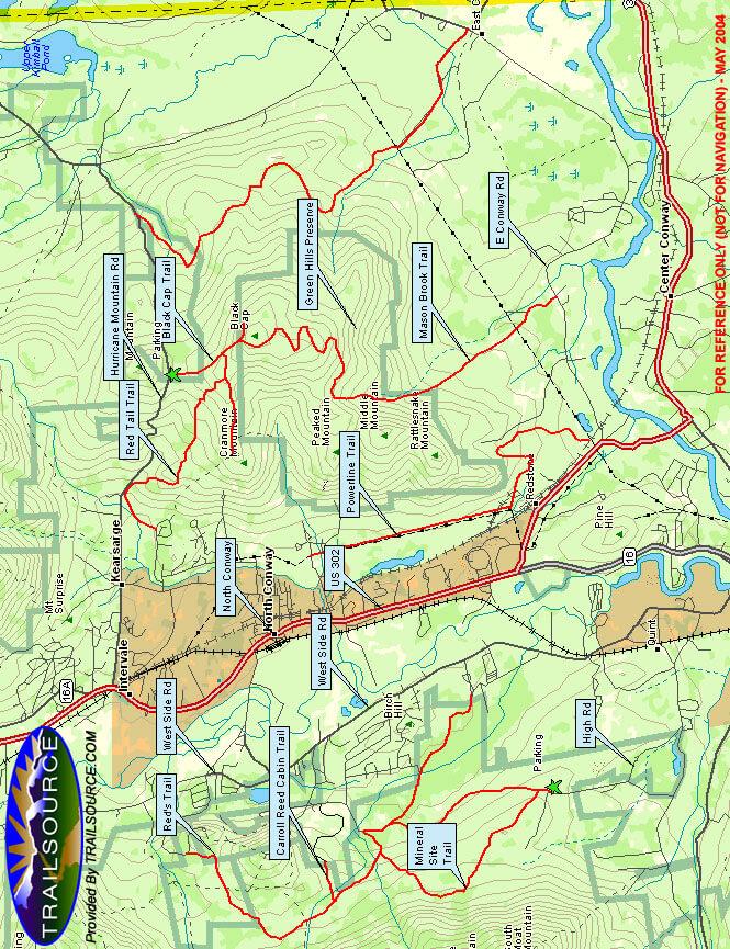 North Conway Trails Mountain Biking Map