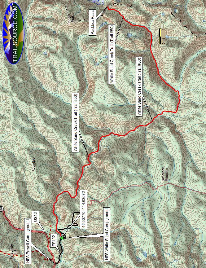 White Sand Creek Trail Hiking Map