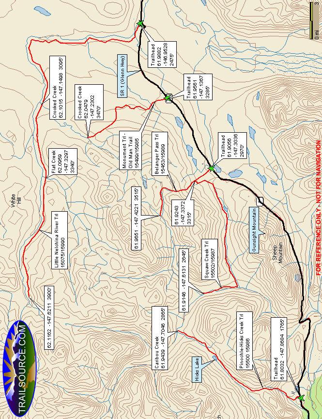 Gunsight Mountain Trail ATV Trails Map