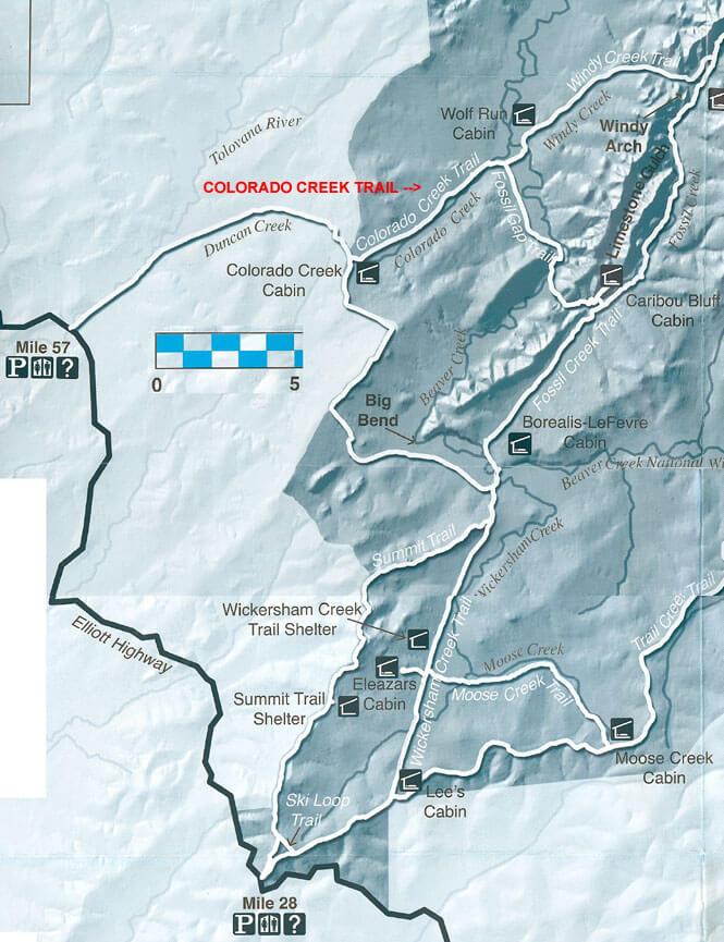 Wickersham Creek Trail Mountain Biking Map