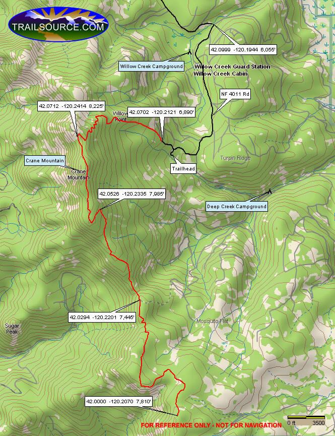 Crane Mountain Trail Hiking Map
