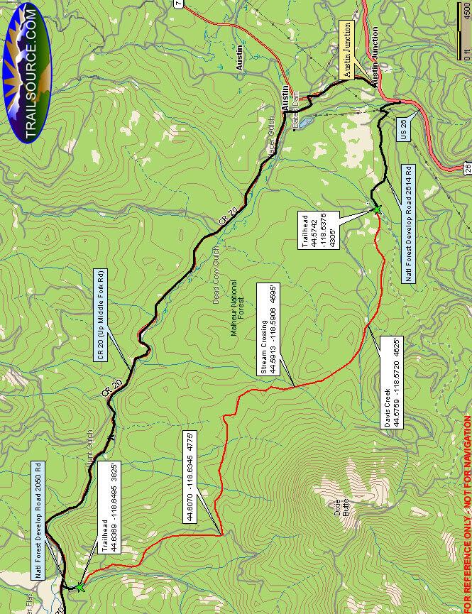 Davis Creek Trail ATV Trails Map