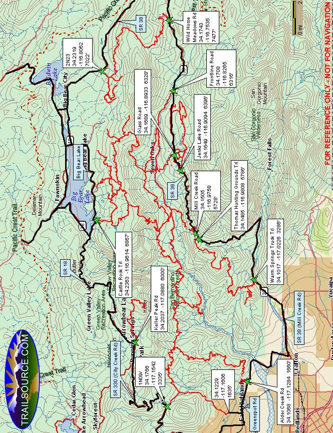 Big Bear Lake - South ATV Trails Map
