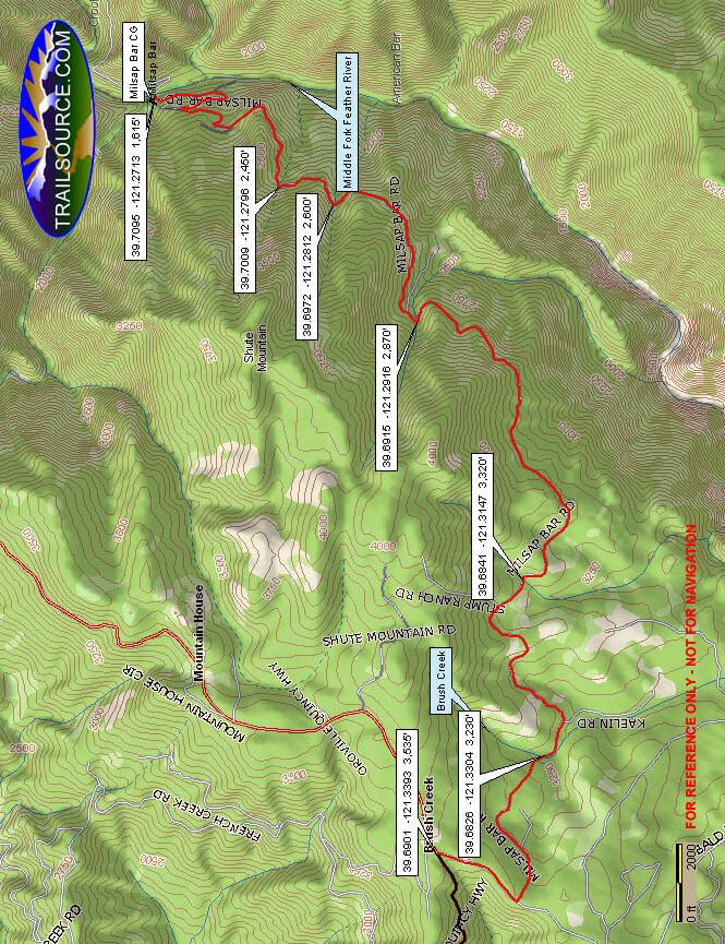 Milsap Bar West ATV Trails Map