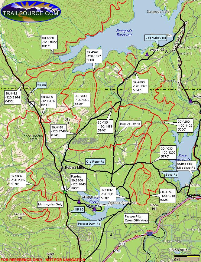 Prosser Hill OHV ATV Trails Map