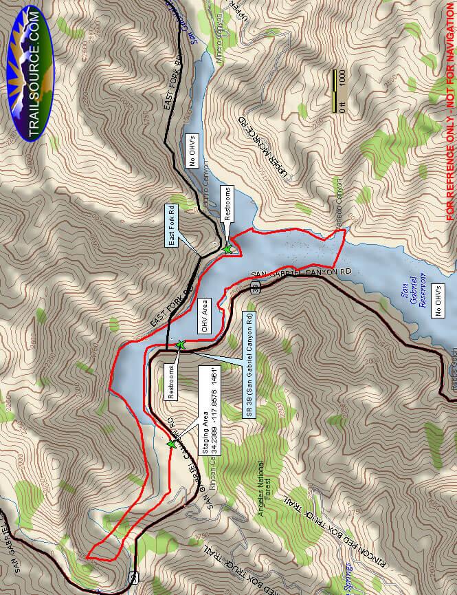 San Gabriel Canyon OHV Area ATV Trails Map