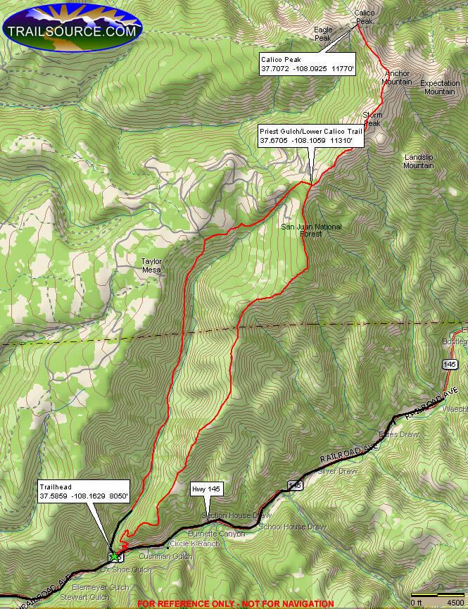 Lower Calico Trail Mountain Biking Map