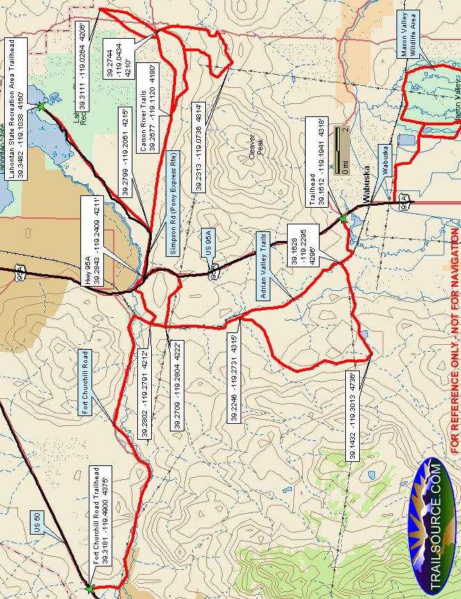 Carson River Trails Horseback Riding Map