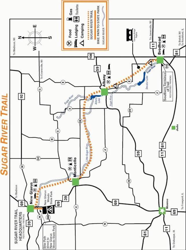 Sugar River Trail Mountain Biking Map