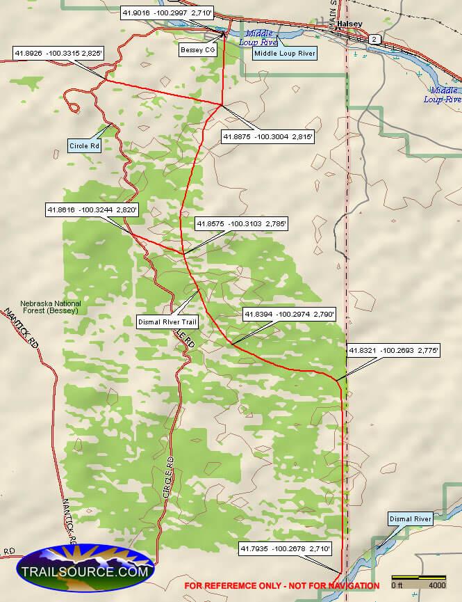 Dismal River Trail Hiking Map