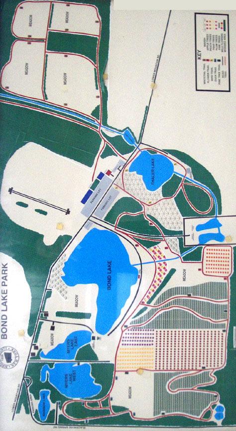 Bond Lake Park Hiking Map