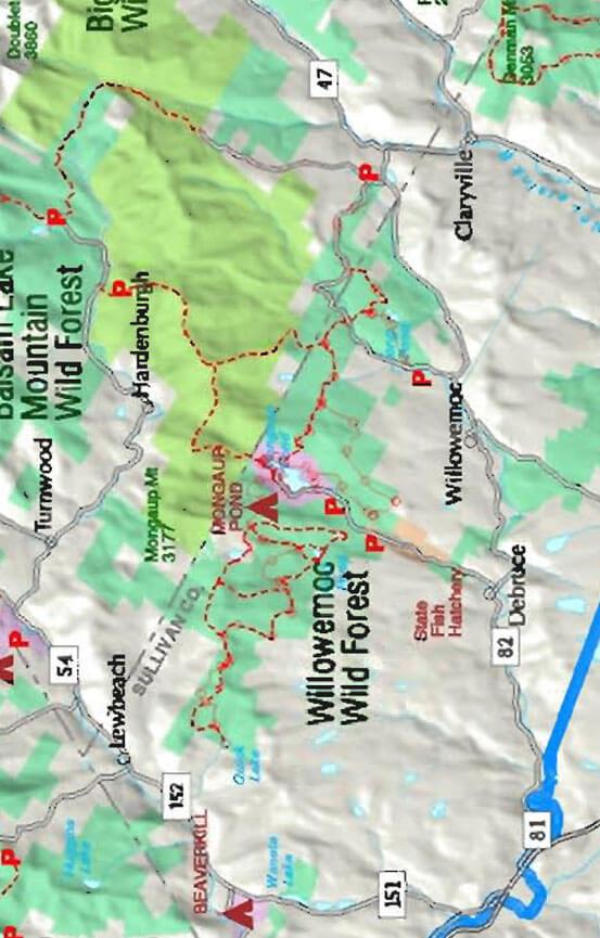 Willowemoc Wild Forest Mountain Biking Map
