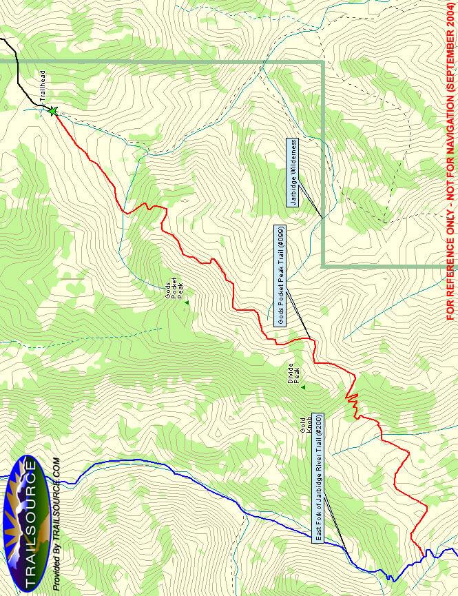Gods Pocket Peak Hiking Map