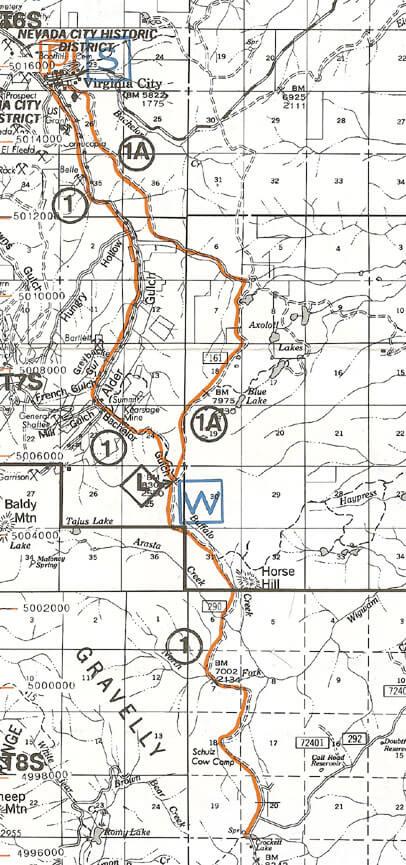 Viginia City / Clover Meadows Snowmobiling Map