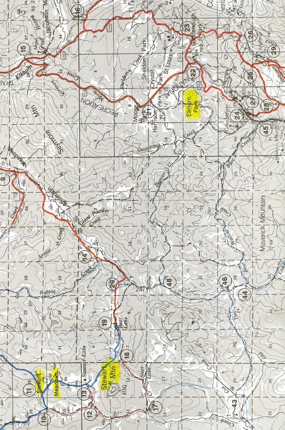 Stewart Meadows Complex Snowmobiling Map