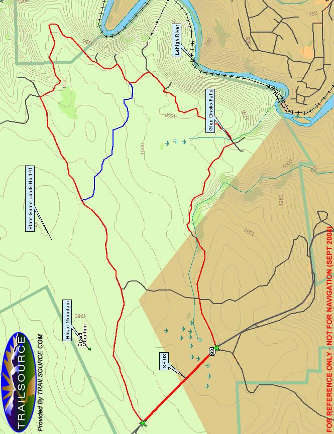 Glen Onoko Loop Mountain Biking Map