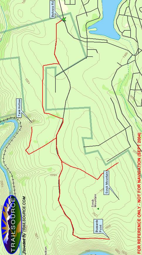 Scrub Mountain / Tank Hollow Mountain Biking Map